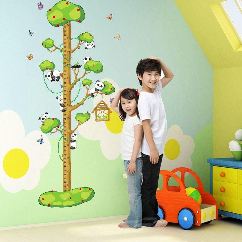 ... Cartoon Panda Tree Scale Ruler Children Room Bedroom Living Room  Entrance PVC Wall Stickers Height Ruler