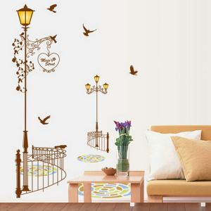 Cartoon Street Light Children Room Bedroom Living Room Entrance PVC Wall Stickers