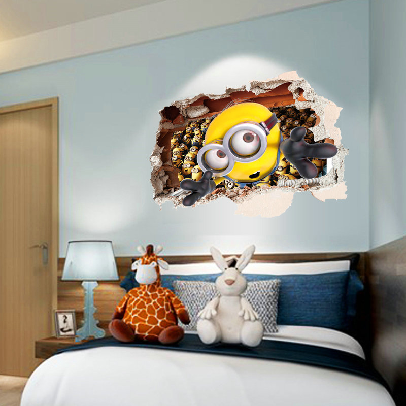 3d broken wall cartoon anime minions children room bedroom living