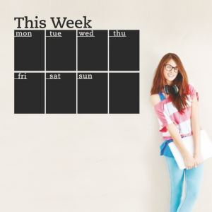 THIS WEEK Weekly Black Record Board Office Living Room Entrance PVC Plane Wall Stickers