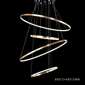 Modern Simple LED Pendant Light Aluminum Gold Living Room Decorative Light 4 Circles 80+45+80+45cm Energy Saving