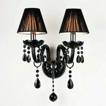 Lighting - Wall Lights - Crystal Wall Lights - Black Crystal Wall Light with 2 Lights in Fabric ...