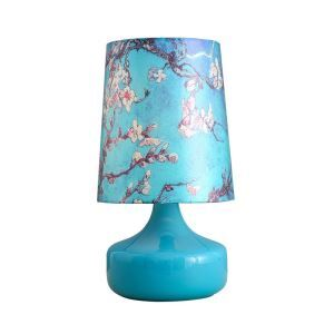 Nordic Simple Pastoral Bedside Lamp Sky Blue Glass Lamp Base Peach Blossom Pattern Cloth Lampshade Bedroom Living Room Study Room Light