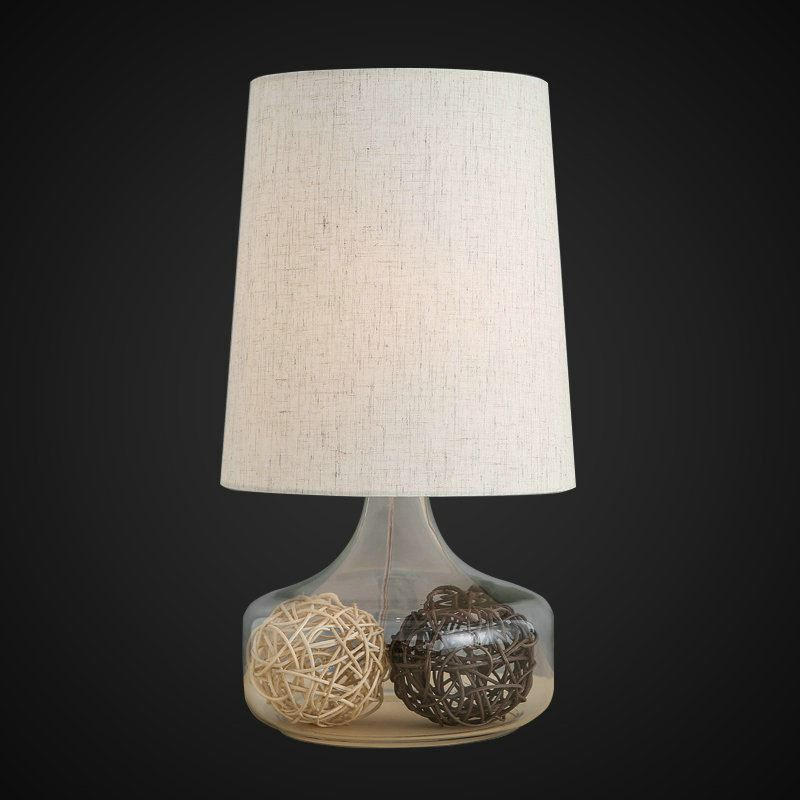 nordic simple pastoral bedside lamp clear glass lamp base linen cloth lampshade bedroom living. Black Bedroom Furniture Sets. Home Design Ideas