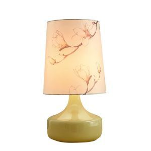 Nordic Simple Pastoral Bedside Lamp Light Yellow Glass Base Magnolia Cloth Lampshade Bedroom Living Room Study Room Light