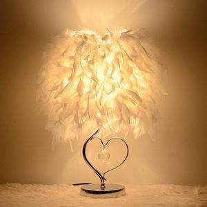 Nordic Simple Bedside Lamp Heart Shaped Frame Crystal Pendant Chrome Plating Base White Feather Lampshade Bedroom Living Room Study Room Light