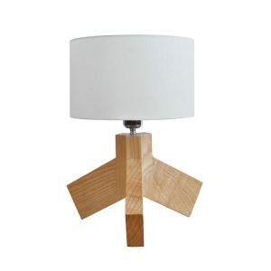 Nordic Simple Pastoral Bedside Lamp Wood Craft Tripod Base Light Grey Cloth Lampshade Bedroom Living Room Study Room Light