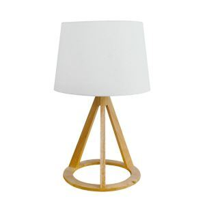 Nordic Simple Pastoral Bedside Lamp Wood Craft Tripod Round Base Light Grey Cloth Lampshade Bedroom Living Room Study Room Light