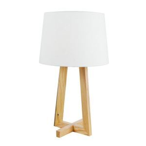 Nordic Simple Pastoral Bedside Lamp Two-legged Cross Base Linen Cloth Lampshade Bedroom Living Room Study Room Light
