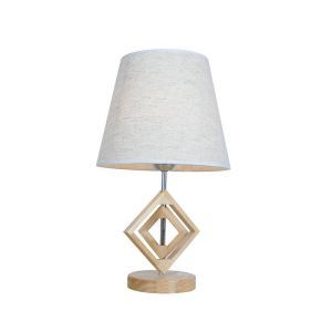 Nordic Simple Pastoral Bedside Lamp Wood Craft Round Base Square Hollow Wood Frame Linen Cloth Lampshade Bedroom Living Room Study Room Light