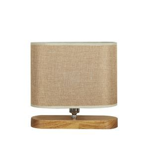 Nordic Simple Pastoral Bedside Lamp Wood Craft Hollow Arch Base Linen Cloth Lampshade Bedroom Living Room Study Room Light