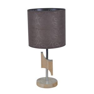 Nordic Simple Pastoral Bedside Lamp Wood Craft Round Base Brown Printing Cloth Lampshade Bedroom Living Room Study Room Light