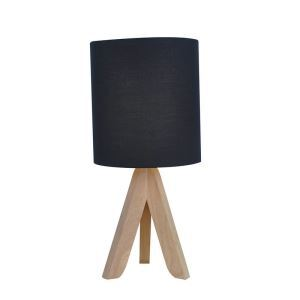 Nordic Simple Pastoral Bedside Lamp Wood Craft Tripod Base Black Linen Cloth Lampshade Bedroom Living Room Study Room Light