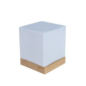 Nordic Simple Pastoral Bedside Lamp Wood Craft Base White Square Glass Lampshade Bedroom Living Room Study Room Light