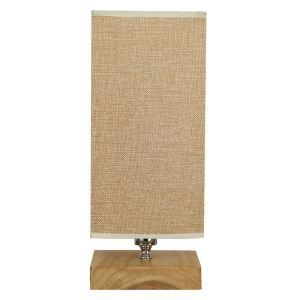 Nordic Simple Pastoral Bedside Lamp Wood Craft Square Base Linen Cloth Lampshade Bedroom Living Room Study Room Light