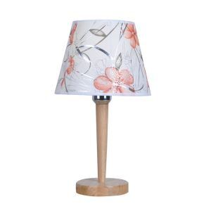 Nordic Simple Pastoral Bedside Lamp Wood Craft Round Base Printing Cloth Lampshade Bedroom Living Room Study Room Light