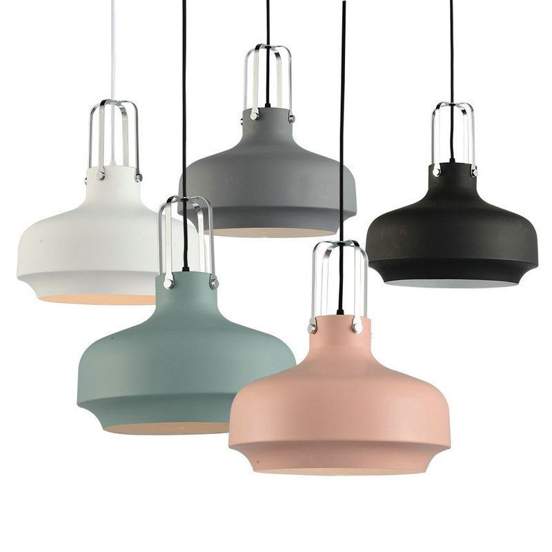 Nordic Simple Pendant Light Macaron Shaped Creative Dining Room Study Room  Bedroom light Iron Craft Single ...