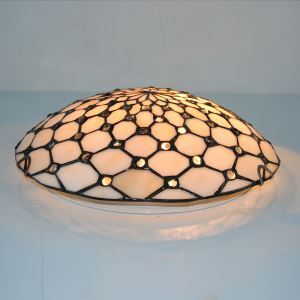 (In Stock)12 inch Tiffany Flush Mount Beige Stained Glass Tiffany Two-light Flush Mount Ceiling Light