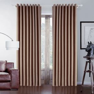 ( One Panel )  Country Jacquard Brown Polyester Energy Saving Curtains-546