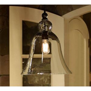 (In Stock) 60W E27 Pendent Light with Bell Desgined Glass Shade
