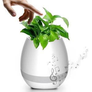 Mini Smart Flowerpot Piano Bluetooth Speaker Night Light Touch Plant Musical Boxes White Blue Pink (Plant Not Included)