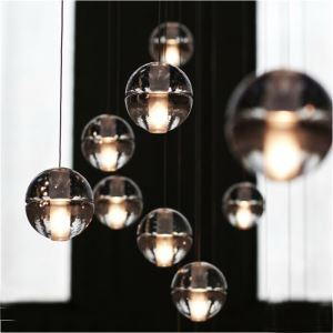 (EU Stock) Contemporary Simple Electroplated Craftsmanship Transparent Crystal Ball Pendant Light Energy Saving Warm White
