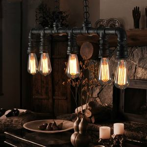 (EU Stock) Vintage Metal Water Pipe 5-light Pendant Light