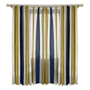 Mediterranean Chenille Stripe Custom Finished Curtains Blackout Curtains