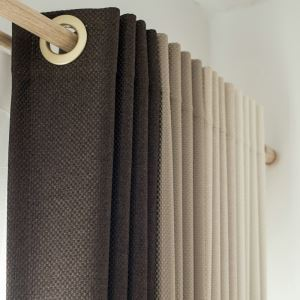 Modern Simple Thicker Big Lattice Linen Blackout Curtains Advanced Customization