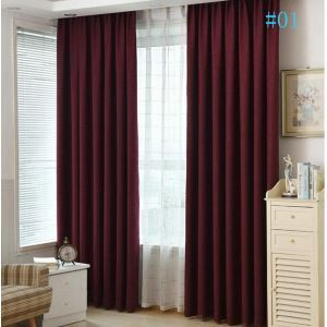 Nordic Modern Solid Color Curtains Thickened Blackout Cotton and Linen Curtains