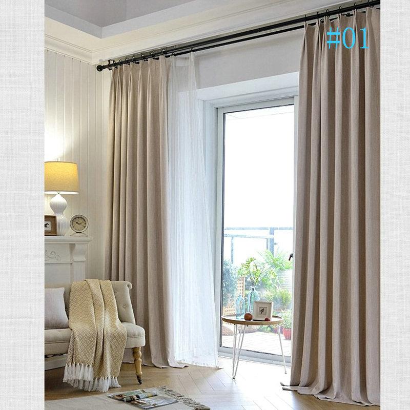 Modern Simple Slub Cotton Black Silk Blackout Soild Color Curtains Bedroom  Living Room Study Room Curtains