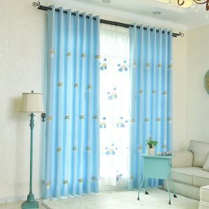 Children's Room Curtains New Arrival Embroidered Blue Rainbow Embroidered Curtain Advanced Custom