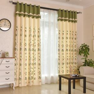 Rural Pastoral Birds Pattern Embroidered Curtains Advanced Custom Curtains