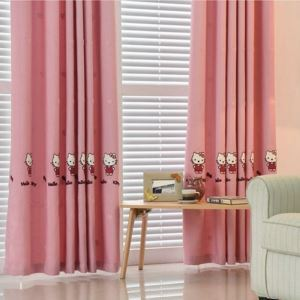 Rural Pastoral Pink HelloKitty Cotton and Linen Embroidery Children Room Curtain