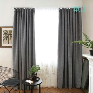 Modern Simple Solid Color Fine Linen Advanced Custom Curtains Japanese Style Blackout Curtains
