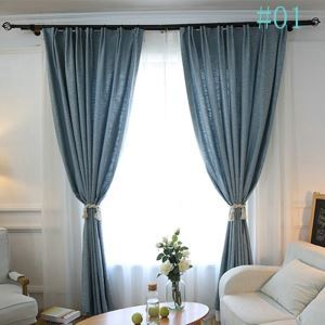 Modern Simple Solid Color Burlap Advanced Custom Curtains Japanese Style Blackout Curtains