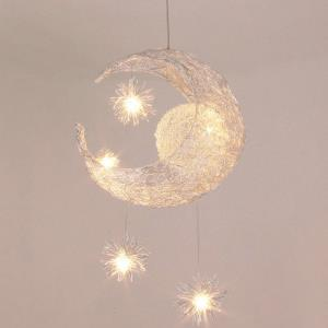 Modern Ceiling Light Moon Star Featured LED Pendant Light Kids Room Living Room Light with 5 Lights