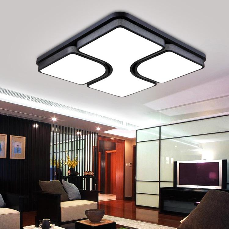 (UK Stock) Modern Simple Fashion Black LED Black Acrylic Square Flush Mount  Light Living Room Bedroom Study Room Dining Room Energy Saving Cool White