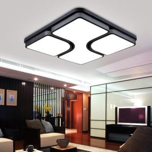 (EU Stock) Modern Simple Fashion Black LED Black Acrylic Square Flush Mount Light Living Room Bedroom Study Room Dining Room Energy Saving Cool White (Sunshine In My Sky)
