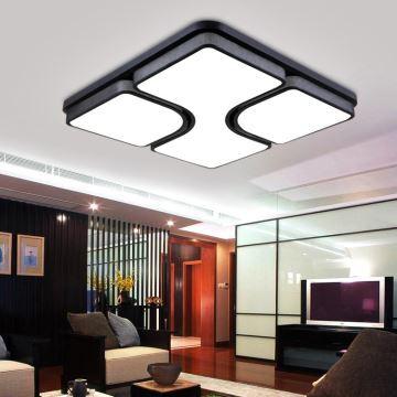 UK Stock Modern Simple Fashion Black LED Acrylic Square Flush Mount Light Living Room Bedroom Study Dining Energy Saving Cool White