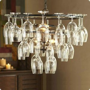Ceiling Light Wine Glass Chandelier Pendant Lighting with 6 Lights in Wine Glass Feature (Wine Glass NOT Included)