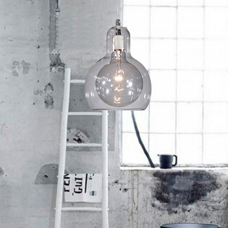 EU StockClear Mouth Blown Glass Modern Minimalist Pendant Light With 1