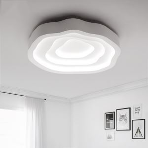 (EU Stock) Modern Simple Fashion LED Metal White Flush Mount Light Living Room Bedroom Study Room Dining Room Energy Saving Cool White(Sunshine In My Sky)