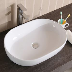 Modern Simple Ceramic Sink White Sink Oval 49cm (Without Faucet)