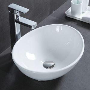 Modern Simple Ceramic Sink White Sink Oval 41cm (Without Faucet)