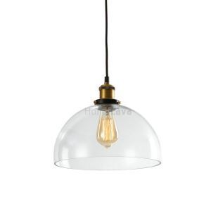 Clear Glass Dome Pendant Light Ceiling Lights(Salty Coffee)