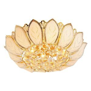 Modern Gold Crystal Ceiling Lights Lotus Shape  With Glass Leaves For Bedroom Lighting(Lotus Bloom)
