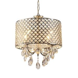 Crystal Chandelier Modern Drum Chrome Round 4 Lights Pendant Lamp Lighting