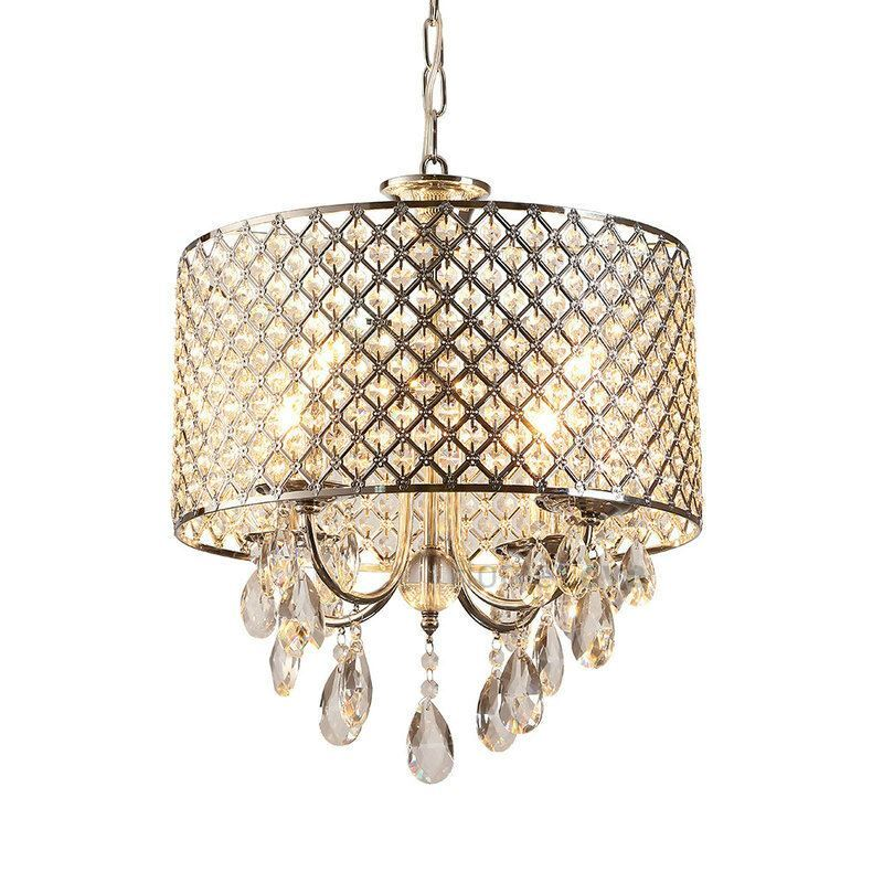 Drum Chandelier Crystal Modern 4 Lights Pendant Lamp Lighting Room