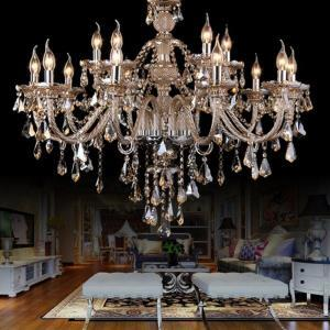 Large Crystal Chandelier Cognac Luxury Modern Large Crystal Ceiling lights 2 Tiers 15 Lights(Dance Of Romance)